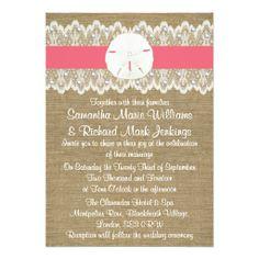 Sand Dollar Beach Wedding Invitations - Coral