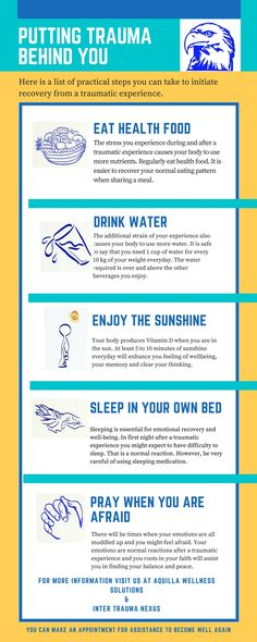 Put Trauma Behind you Info-graphic with a list of practical step to help you initiate recovery from a traumatic experience. Legal Advisor, Business Advisor, Stop Bullying, Drinking Water, Trauma, Infographic, How To Become, Stress, Healing