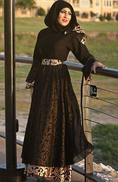 Impressive collection of abaya with flare designs  (6)