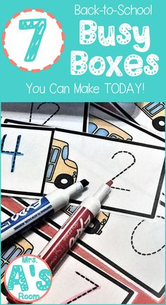 7 Back-to-School Busy Boxes You Can Make Today! These back-to-school busy boxes are ready to print, cut, and use! Your preschool and kindergarten kids will love these 7 activities! Preschool Themes, Preschool Learning, Kindergarten Classroom, Classroom Ideas, Daycare Themes, Autism Classroom, Daycare Ideas, Early Learning, Back To School Activities