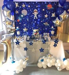 No automatic alt text available. Nasa Party, Rocket Birthday Parties, Astronaut Party, Outer Space Party, Star Party, Birthday Party Decorations, Party Bunting, Solar System, Party Supplies