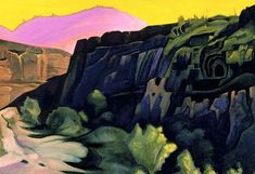 Ajanta. The rock temples., 1938 by Nicholas Roerich. Symbolism. landscape. State Museum of Oriental Art, Moscow, Russia