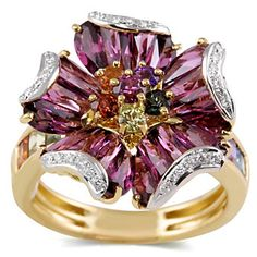 18k Garnet and Diamond Ring from Borsheims. Beautiful vivid colors!