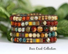 Beaded Cuff Bracelet, Picasso Jasper, Bohemian Style, 5 Row Cuff, Tila, Glass, Stone, Sunflower, Turquoise Green, Eathtones, Boho Jewelry