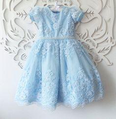 Vestido azul renda francesa - Ateliê de arte - by Zeuda Rebouças