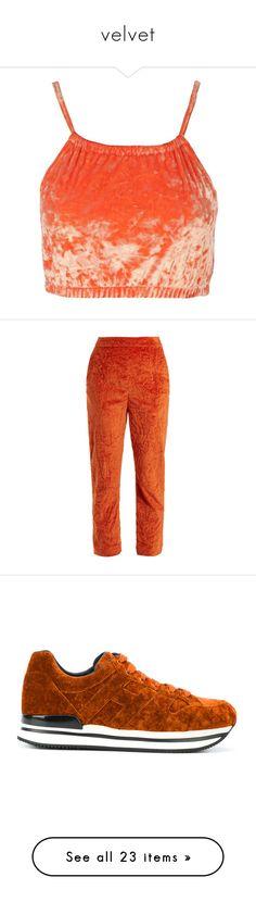 """velvet"" by little-darlin ❤ liked on Polyvore featuring tops, velvet crop top, nasty gal top, red crop top, crop top, red top, pants, capris, trousers and dark orange"