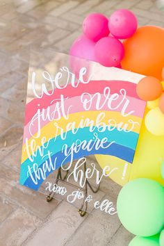Rainbow sign from an Over the Rainbow Birthday Party - Bright decor and a little bit of glam, this Over the Rainbow Birthday Party featured here at Kara's Party Ideas. Rainbow First Birthday, Girl First Birthday, Unicorn Birthday Parties, First Birthday Parties, Birthday Party Themes, First Birthdays, Birthday Ideas, Rainbow Baby, 5th Birthday