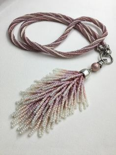 "Beaded crochet sotuar ""Pink tassel"" Old rose powder pink ombre necklace Sotuar with the tassel pendant Pink long statement necklace sotuar by RMAccessoriesCo on Etsy"