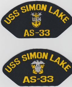 USS SIMON LAKE AS-33 - 4 Original hat patches selling for $2.00 ea. including s & h by First Class Mail.  Contact ussforrestalcva59@gmail.com for larger quantity pricing.