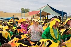 Guinness World Record and it's official: The largest gathering of people dressed as sunflowers is 571, achieved by British Forces Brunei Garrison.