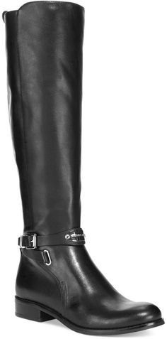 MICHAEL Michael Kors Arley Riding Wide Calf Boots, Gold-tone details add allure to the sleek style of the Arley riding boots by MICHAEL Michael Kors.