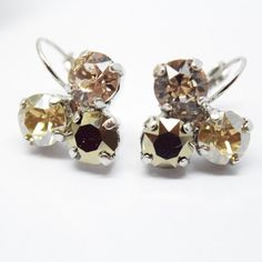 CHAMPAGNE BUBBLES, swarovski earrings,leverbacks, 8mm, triple stone, champagne hues, designer inspired, lightweight, dksjewelrydesigns
