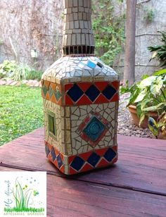 Mosaic Bottles, Mosaic Ideas, Mosaics, Vases, Pots, Tile, Magic, Home Decor, Mariana