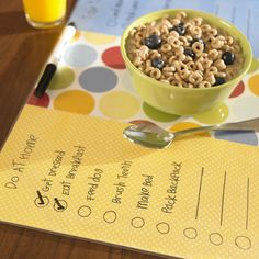 Fun idea! Dry erase place mat to have the kids check off their morning routines!
