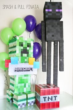 Ghast Pinata Minecraft Decor Birthday by SmashandPullPinata Minecraft Decorations, Minecraft Cake, Kids Party Decorations, Minecraft Party, 6th Birthday Parties, Girl Birthday, Block Party Games, Cool Things To Make, Lego