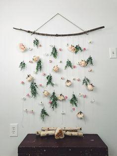 rose flower wall hanging, hanging flower backdrop, floral wall hanging, boho wall hanging, nursery girl decor, boho backdrop, boho decor by EarthSoulGoods on Etsy https://www.etsy.com/listing/568372544/rose-flower-wall-hanging-hanging-flower