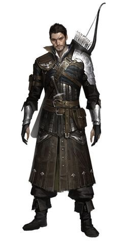 charcater Concept male human ranger wield bow arrow dagger lether armor realistic by Dongho Kang