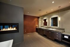 BATH View. minimalist-fireplace. Sheerwater Residence by David Tyrell