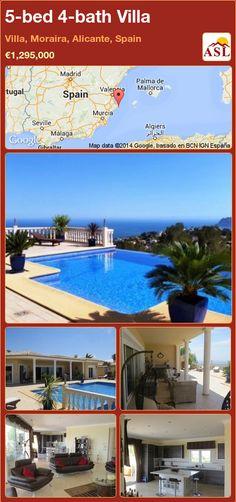 5-bed 4-bath Villa in Villa, Moraira, Alicante, Spain ►€1,295,000 #PropertyForSaleInSpain