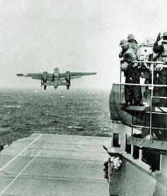Doolittle Raiders B-25's on USS Hornet (CV-8) April 18, 1942. #10I