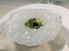 """""""Piatto di Ghiaccio"""": Tartara di Calamaro, Crema di Broccoli e chutney di Sambuco"""