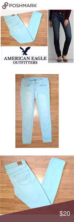 """Skinny Baby Blue American Eagle Outfitters jeans These cute American Eagle Outfitters skinny jeans are perfect for dressing up any casual occasion! Baby blue cotton denim wash with 2% spandex for stretch fit. Traditional 5 pocket style leather logo tag on back. Skinny fit. Size 8 regular, 31"""" inseam, model shows fit only. Dress up or down with wedges and blouses, low tops and tees... Possibilities are endless! In like NEW CONDITION NO DAMAGES. Grab yours for less and look sexy in American…"""