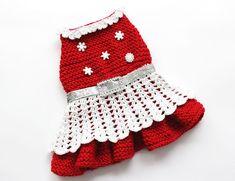 Hand Knit Holiday Dog Dress size Small por MaxMilian en Etsy