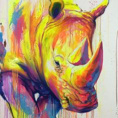 Afbeeldingsresultaat voor street art noe two Graffiti Art, Rhino Art, Urbane Kunst, Colorful Animals, Colorful Animal Paintings, Desenho Tattoo, Art And Illustration, Illustrations, Art Store