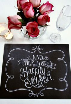 Happily Ever After Chalkboard Art Placemats