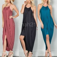 New hi lo low maxi dress tulip ruched skirt sexy ❌Ask for size and color availability, COMMENT ON SIZE AND COLOR NEEDED . PRICE IS FIRM UNLESS BUNDLED❌.  New retails.... Hi low lo Drape ruched maxi  with layered shirt underneath. Racer back, spaghetti straps.ruched neckline and drape sides. Very comfy and super sexy. Fabric content 95% Rayon and 5% spandex ...Available in black and teal. Small medium and large. BOUTIQUE Dresses Maxi
