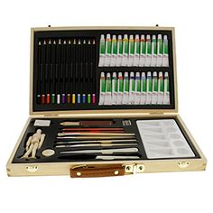 "US Art #Supply® #50-Piece Acrylic Painting Set with, Wood Storage Case, 24-Tubes Acrylic Colors, 12 Colored Pencils, 2 Graphite Pencils, 4 Artist Brushes, 5.5"" Ma..."