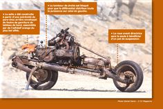 A guy makes a moto out of salvaged parts from his broken down car in the Moroccan desert.