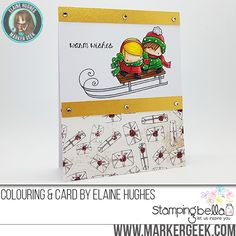 Stamping Bella Rubber stamp: THE LITTLES TOBOGGANING card by Elaine Hughes