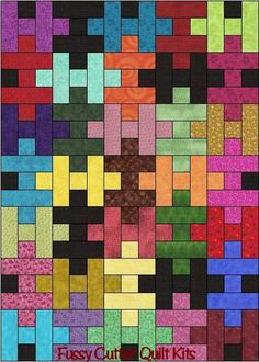 Scrappy Grab Bag Fabrics Jigsaw Puzzle Easy Ready To Sew Pre-Cut Quilt Blocks Top Kit Scrappy Quilt Patterns, Jellyroll Quilts, Scrappy Quilts, Baby Quilts, Puzzle Quilt, Quilt Blocks, Quilting Projects, Quilting Designs, Plus Quilt