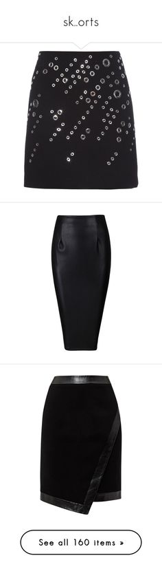 """""""sk..orts"""" by evenaka on Polyvore featuring skirts, mini skirts, bottoms, black, short mini skirts, short skirt, short wool skirt, woolen skirt, embellished skirts and pencil skirts"""