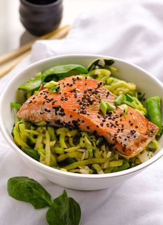 Zucchini Noodle Bowls Recipe with salmon, snap peas, spinach and traditional Asian cooking flavours. | ifoodreal.com