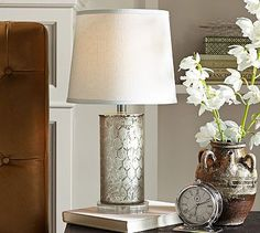 """Etched Mercury Glass Table Lamp #potterybarn12"""" diameter, 23"""" high $299 potterybarn"""