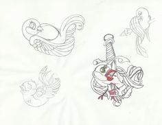 Tattoo flash bird sketch dump