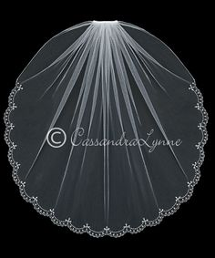 Wedding Veil with Teardrop Pearl Partial Scallop Edge from Cassandra Lynne