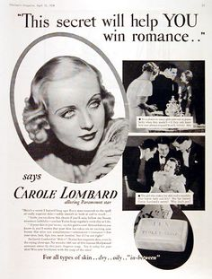 1934 Lux Soap original vintage advertisement. For all types of skin... dry... oily or in-between. With endorsement by Paramount Pictures movie star Carole Lombard.