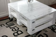 You can make a DIY coffee table with rustic wooden pallets you can put over glass on the wooden pallets . you could be made a brand new DiY pallet coffee table Pallet Furniture Designs, Wood Pallet Furniture, Pallet Designs, Diy Furniture, Painted Coffee Tables, Diy Coffee Table, Coffee Table Design, Diy Pallet Projects, Pallet Ideas