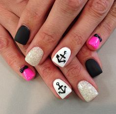 I personally don't like the black nails and pink nails with bows with the glitter and anchors