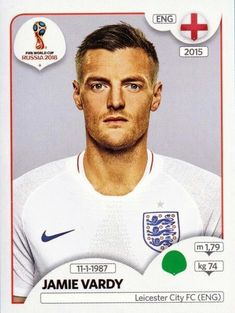 Panini Stickers Panini Football Sticker Albums FIFA World Cup Russia 2018 sticker Jamie Vardy - England, FIFA World Cup Russia 2018 2018 ref. England Kit, England Fans, Soccer Cards, Football Cards, Steven Gerrard, England World Cup 2018, Premier League, England Football Players, America's Cup