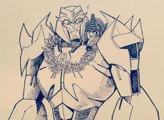 Megatron and chibi Optimus