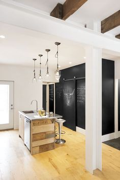 A chalkboard wall in the kitchen