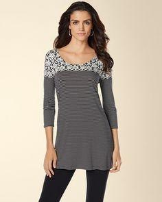 Soma Intimates Soft Jersey 3/4 Sleeve Scoop Neck Tunic #somaintimates