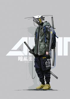 A genre of science fiction and a lawless subculture in an oppressive society dominated by computer technology and big corporations. Mode Cyberpunk, Cyberpunk Clothes, Cyberpunk Fashion, Steampunk Fashion, Gothic Fashion, Arte Ninja, Character Concept, Character Art, Concept Art