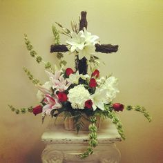 Sympathy basket with grapevine cross
