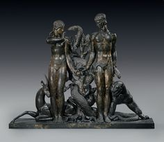 RAYMOND DELAMARRE (1890-1986) 'TEMPTATION,' A FIGURAL SCULPTURE, CIRCA 1935 number 2 from an edition of 10, patinated bronze 37¼ in. (94.6 cm.) high, 46½ in. (118 cm.) wide, 9¼ in. (23.5 cm.) deep signed Raymond Delamarre 2/10