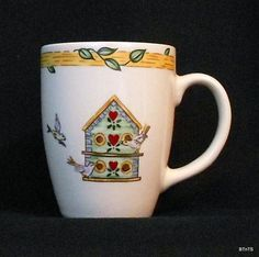 Thomson Pottery Mug Cup Birdhouse Pattern Coffee Tea Collectible Valentines Day - This  coffee mug or tea cup features the  Birdhouse pattern and would be a great addition to an  existing service or collection.
